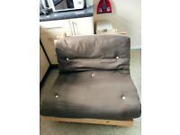 Single Futon brown/cream reversible