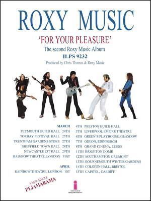 Roxy Music - POSTER - For Your Pleasure ALBUM UK Tour Brian Ferry Eno - $12.94