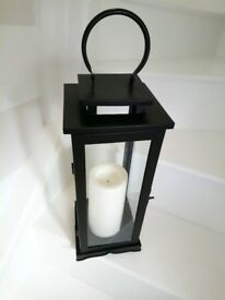 Black metal lantern with led candle timer height 23""