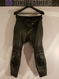 "Scott Leathers Dominator Motorcycle Leather Trousers - UK 36"" - Black - Knox CE BB BIKE LEATHERS"