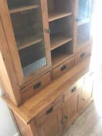Vancouver solid oak sideboard and dresser display cabinet