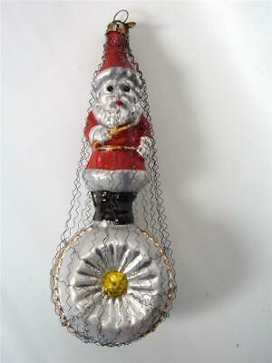 Bethany Lowe German Glass Xmas Ornament Antique Design Santa on indent Ball Wire