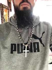 HUGE solid silver chain and cross