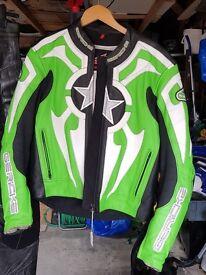 Hein Gericke Celtic Star 2 piece motorcycle motorbike jacket trouser leathers sz 52 see size chart