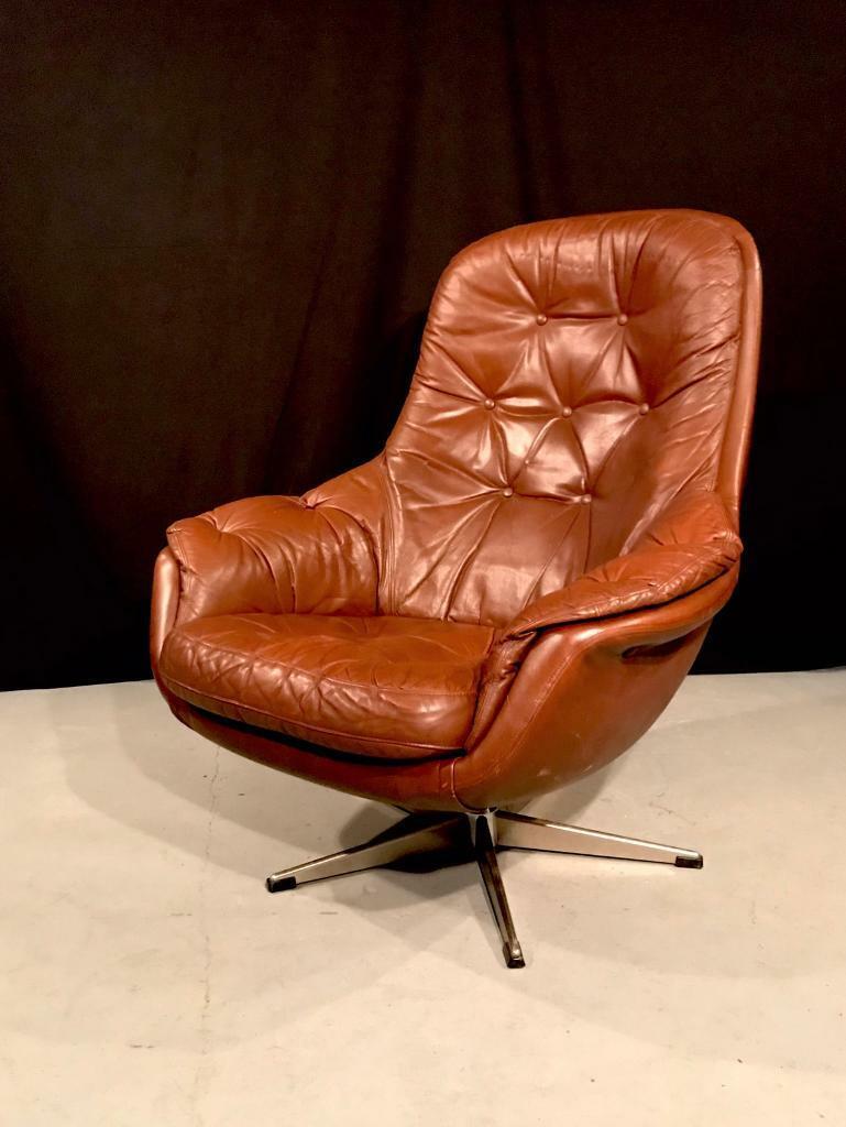 Vintage Danish leather swivel chair. Retro egg chair   in Norwich, Norfolk   Gumtree