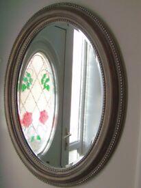 "Beautiful large oval designer distressed mirror, 34""x26""new"