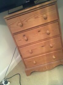 BED SIDE TABLE, DESK, DRAWER SET ALL PINE - FOR SALE. GOOD CONDITION.