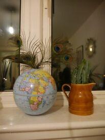 GLOBE/MAP WORLD DECORATIVE TIN, OPENS STORAGE .....£5 ONO