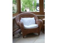 Large Habitat colonial style wicker arm chair