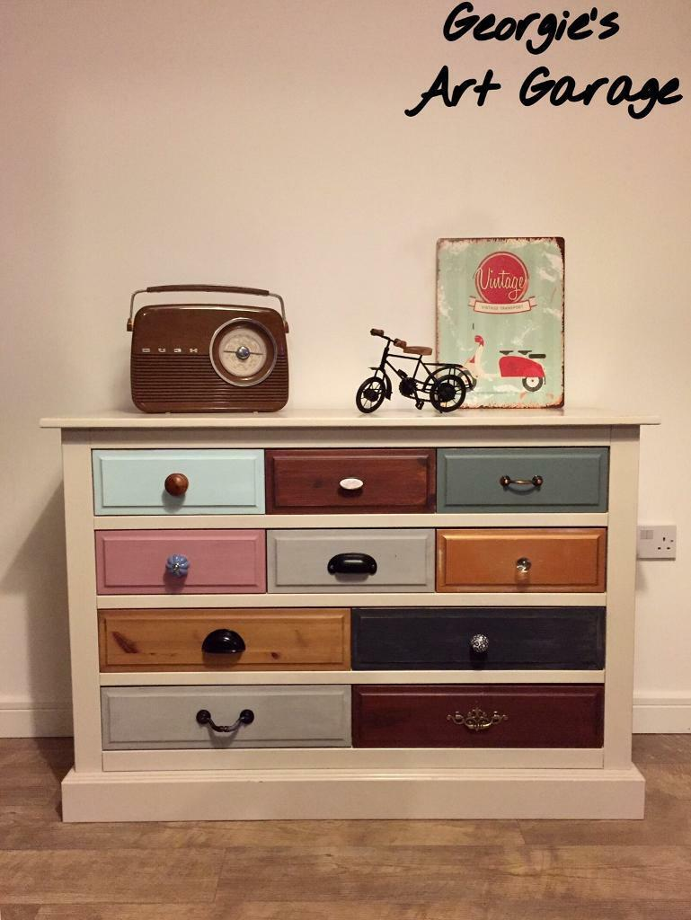 Stunning funky-chic fully refurbished multi coloured chest of drawers/sideboard