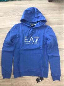 Emporio Armani EA7 Mens Blue Hoodie Size Large Slim Fit Jumper Joblot 2017 Designer Top