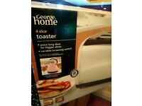 Pink toaster and microwave,.