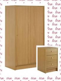 £50 CHEAPER BRAND NEW FLAT PACKED KIDS BEDROOM SET SLIDING WARDROBE + BEDSIDE CHEST Oak Effect £125