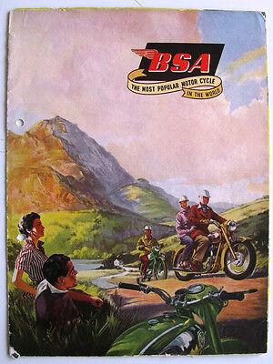 BSA RANGE - Motorcycle Sales Brochure - 1956 - #MC 782-40-100 - Inc BSA Sidecars