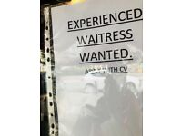Experienced waitress required in palmers green n22 8jw