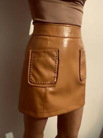 Faux leather mini brown skirt top shop