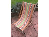 Vintage 60s / 70s wooden candy stripe deck chair multi coloured.