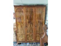 Large antique Edwardian walnut treble compactum wardrobe armoire