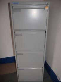 Four drawer foolscap filing cabinet with key present