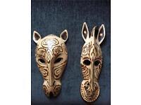 Wooden Animal Wall Masks
