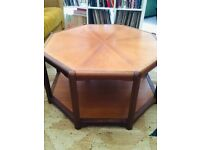 Rare 1970s Octagon Shaped Mid Century Scandinavian Teak Coffee Table with Shelf | Vintage | Retro