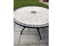 Round mosaic garden table