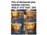 Pine bedside cabinet tables