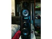 PANASONIC SPEAKERS (250W) handling power total of 500W can be seen working.