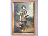 """1970S WALL PAINTING, THOMAS GAINSBOROUGH """"Cottage Girl with Dog and Pitcher"""" VINTAGE GOLD FRAME"""