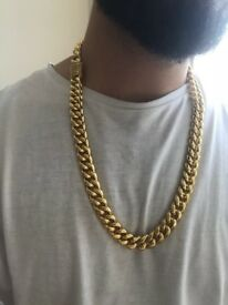 Gold Plated Cuban chain with Iced out Lock