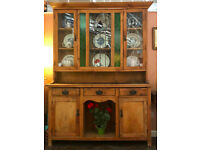 Antique Genuine Welsh Dresser stained and leaded glass 1920