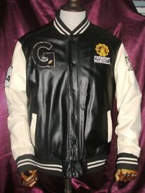 Men's Golden Horn College faux Leather Jacket Knockout Black/White XL