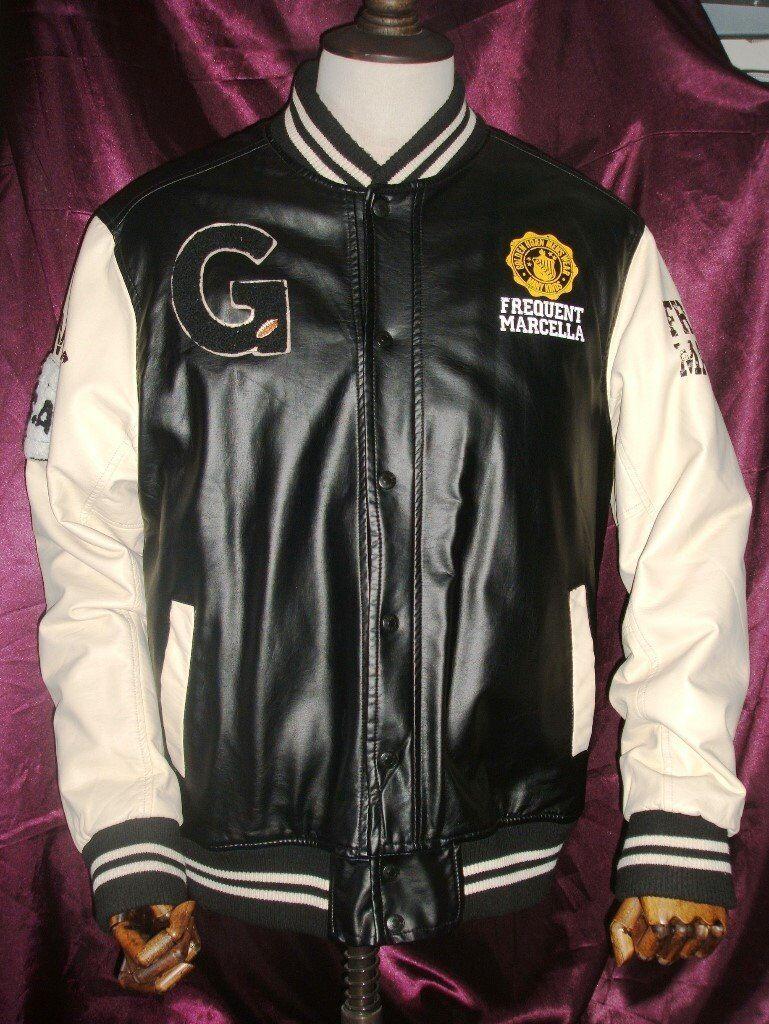 Men's Golden Horn College faux Leather Jacket Knockout Black/White XL