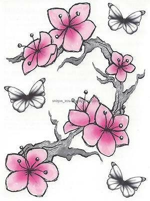 (DESIGNER LARGE SHEET BUTTERFLY PINK cherry blossoms pink flower temporary Tattoo)