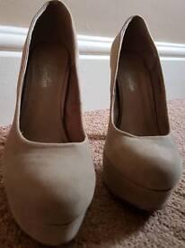 Beige High Heels - Size 6