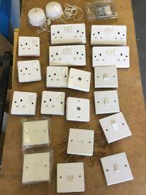 Job lot 240v sockets switches baton pendant lights wall boxes white Tenby