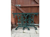 Vintage pair of garden cast iron bench, table ends.