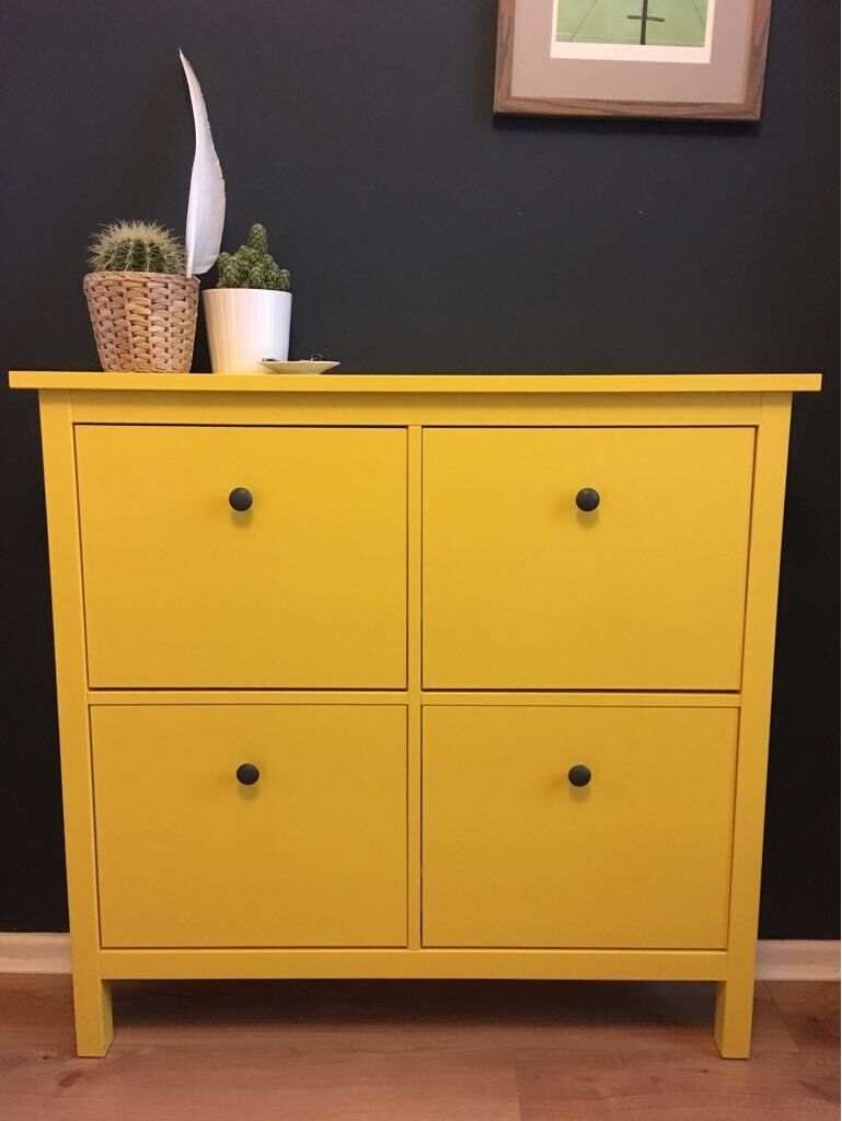 Upcycled ikea hemnes shoe storage cabinet in yellow