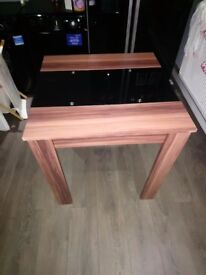 2 seater dining table, black glass and wood very modern