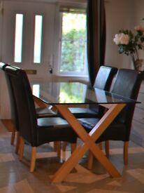 Stylish Glass Dining Room Table + 6 Chairs
