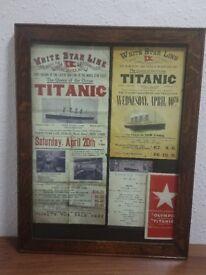 Framed Titanic memorabilia