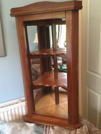 Corner Mid Century Teak Display Shelving Unit with Mirrored Sides & Internal Light See desc for size
