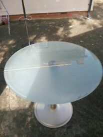 Round Glass table metal base 80cm diameter, tempered glass dining garden table