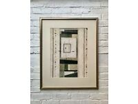Abstract Art Print Mounted Gold Frame #561