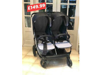 NEW UNUSED HAUCK RAPID 3R DUO SIDE BY SIDE TWIN DOUBLE PRAM PUSHCHAIR GREY BIRTH TO 15 KG £149