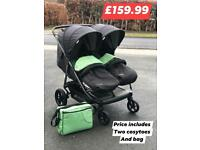New unused hauck rapid 3r duo side by side double twin pram birth to 15kg with cosytoes