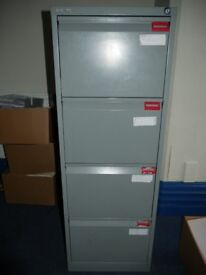 JOB LOT: NINE, four drawer foolscap filing cabinets for sale- two cabinets with keys present £170