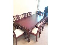 8 Seater Ornate Antique Look Dining Room Table & Chairs