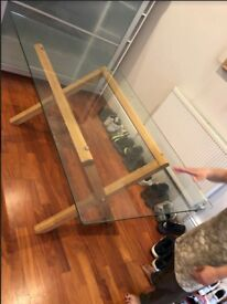 Big Glass Slate & Wooden Stand Office Table - Great Build Quality