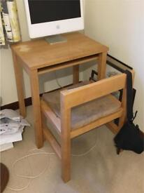 Oak computer desk and chair, from the Futon Company
